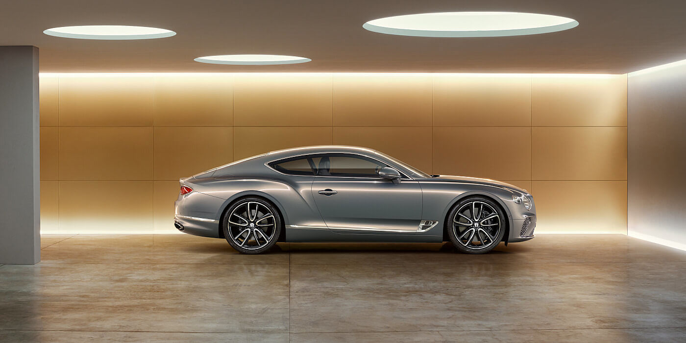 SILVER-BENTLEY-CONTINENTAL-GT-PARKED-IN-GARAGE